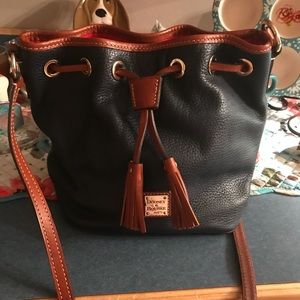 Pebble grain leather drawstring dooney and bourke